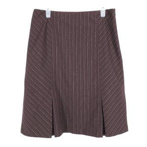RW&CO Pinstripe Skirt A-Line Brown Side Zip Lined